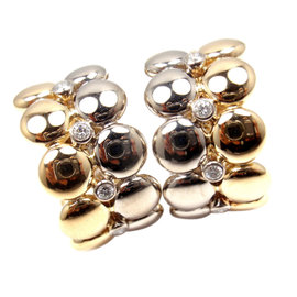Cartier 18k White & Yellow Gold Diamond Hoop Earrings