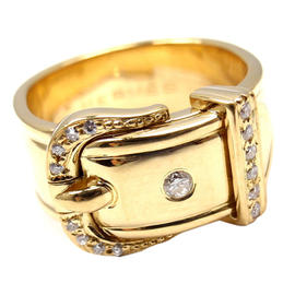 Hermes 18K Yellow Gold Diamond Wide Buckle Band Ring