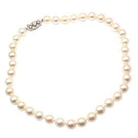 Vintage Mikimoto 9k Gold Akoya Cultured Pearl Graduated Necklace