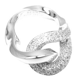 Hermes 18K White Gold Diamond Free Style Twisted Band Ring