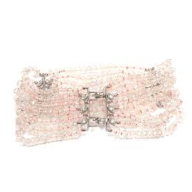 Cathy Waterman Platinum Diamond White Topaz 7 Rows Wheat Bracelet