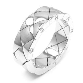 Chanel 18K White Gold Matelasse Quilted Flexible Ring
