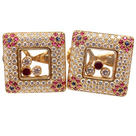 Chopard Happy Diamonds 18k Yellow Gold Diamond Ruby Earrings