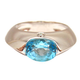 Piaget 18K White Gold Diamond Blue Topaz Dome Ring