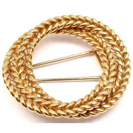 Hermes Paris 18K Yellow Gold Brooch Pin