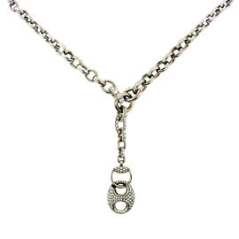 Gucci 18K White Gold & Diamond Horsebit Necklace
