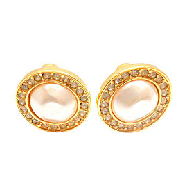 Chanel Gold Tone Pearl & Crystal Stud Clip On Earrings