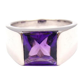 Cartier Tank 18K White Gold Amethyst Ring