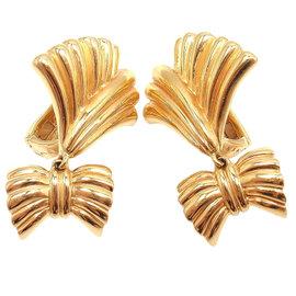 Van Cleef & Arpels YG Dangle Bow Motif Earrings