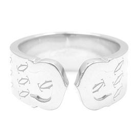 Cartier Logo 18K White Gold Double C Motif Monogram Ring