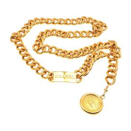 Chanel Gold Tone Double CC Panel Logo Necklace