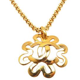 Chanel Gold Tone Logo CC Daisy Necklace