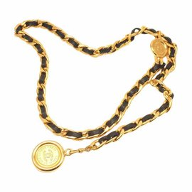 Chanel Gold Tone & Black Leather Necklace