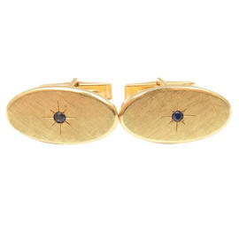 Tiffany & Co. 14K Yellow Gold Textured Sapphire Cufflinks