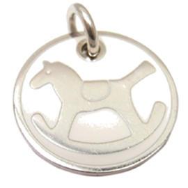 Hermes 18K White Gold Enamel Rocking Horse Charm Pendant