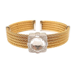 Charriol 18K Yellow Gold Stainless Steel Diamond White Topaz Bracelet