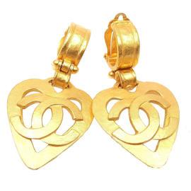 Chanel Gold Tone CC Logo Large Heart Clip On Earrings