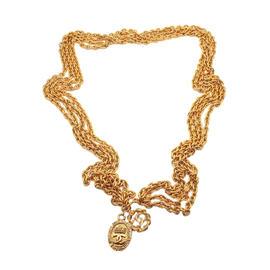 Chanel Gold Tone Multi Strand Logo Clasp Belt Necklace