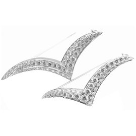 Tiffany & Co. Platinum Diamond Set Of 2 Seagull Brooch Pin