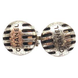 Chanel Silver Tone Microphone Effect Clip On Earrings