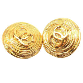Chanel Gold Tone CC Shield Clip On Earrings