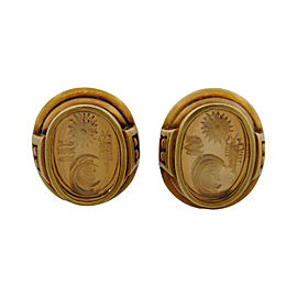 Kieselstein-Cord 18k Yellow Gold Vintage Carved Art Glass Clip-on Earrings