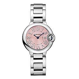 Cartier Ballon Bleu 28mm w6920038 Stainless Steel Quartz Pink Dial Watch