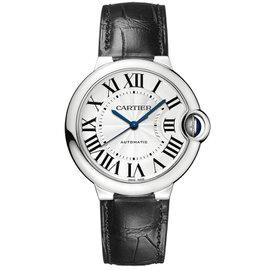 Cartier Ballon Bleu 36mm w69017z4 Stainless Steel Black Leather Watch
