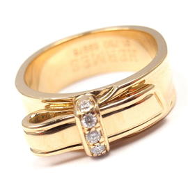 Hermes 18K Yellow Gold Diamond Bow Band Ring