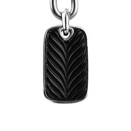 David Yurman Sterling Silver Chevron Onyx Dog Tag Pendant