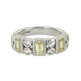 Judith Ripka Vertical Baguette Canary White Sapphires Ring