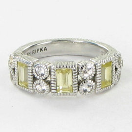 Judith Ripka Vertical Baguette Canary White Sapphires Ring