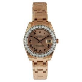 Rolex 81285 Datejust Pearlmaster 34 Everose Gold 32 Diamond Bezel Watch