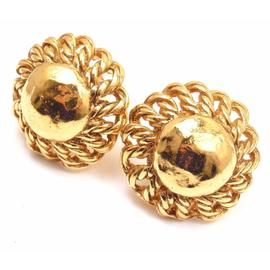 Vintage Chanel Gold Tone Twisted Flower Clip on Earrings