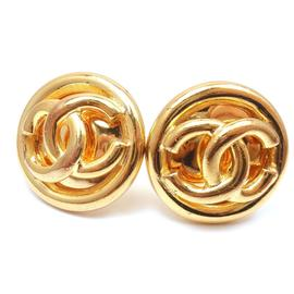 Chanel Gold Tone CC Logo Classic Clip On Earrings