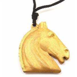 Hermes Goldtone Large Horse Head Black Cord Necklace