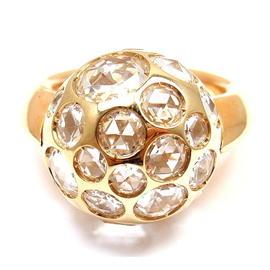 Pomellato Harem 18K Yellow Gold Rock Crystal Ring Size 5