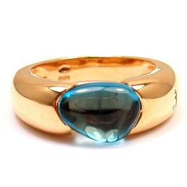 Pomellato Sassi 18K Rose Gold Blue Topaz Ring size 6