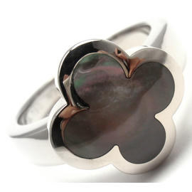 Van Cleef & Arpels Alhambra 18K Gold Grey Mother Of Pearl Ring