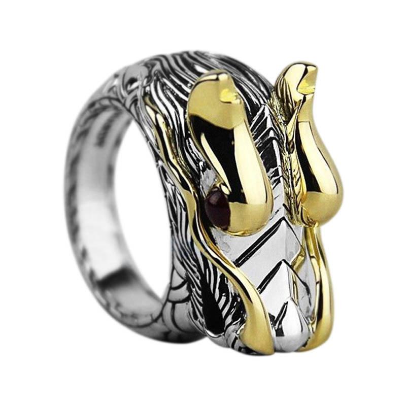"Image of ""John Hardy Sterling Silver & 18K Yellow Gold Ruby Naga Dragon Ring"""