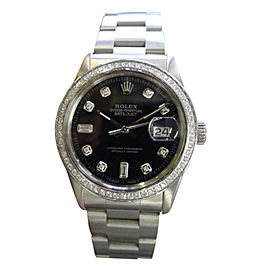 Rolex Oyster Perpetual Datejust Diamonds Black Dial Stainless Steel Mens Watch