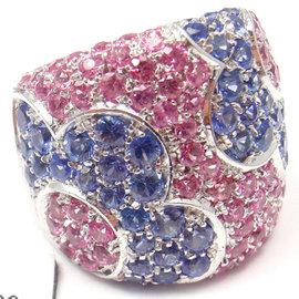 Pasquale Bruni 18k White Gold Petals Sapphires Ring