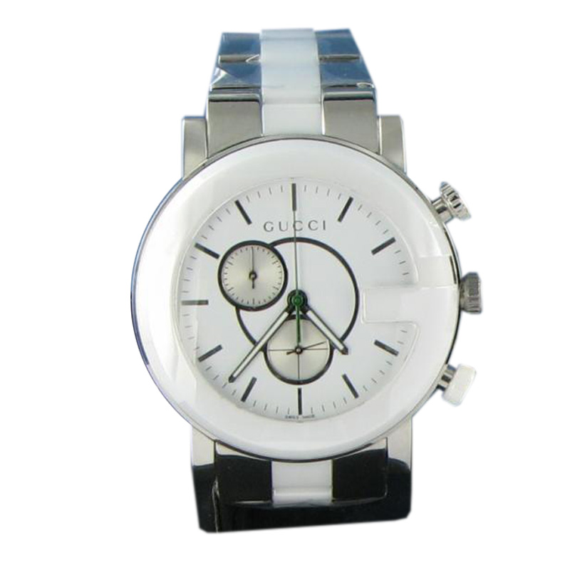 "Image of ""Gucci Ya101345 G Timeless Chronograph Steel Ceramic White Dial Watch"""