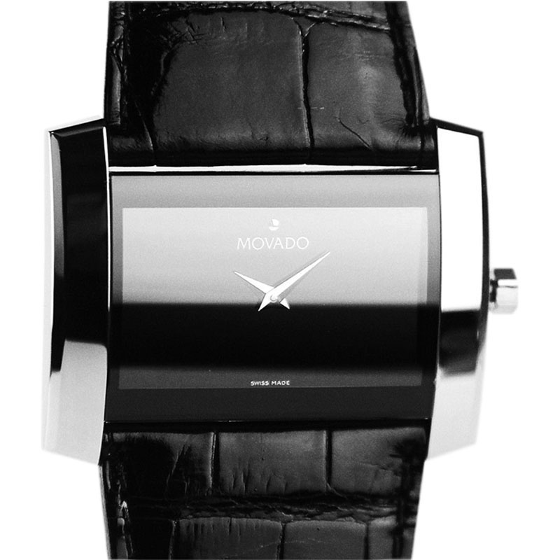 "Image of ""Movado Stainless Steel Black Face Alligator Band Unisex Watch"""