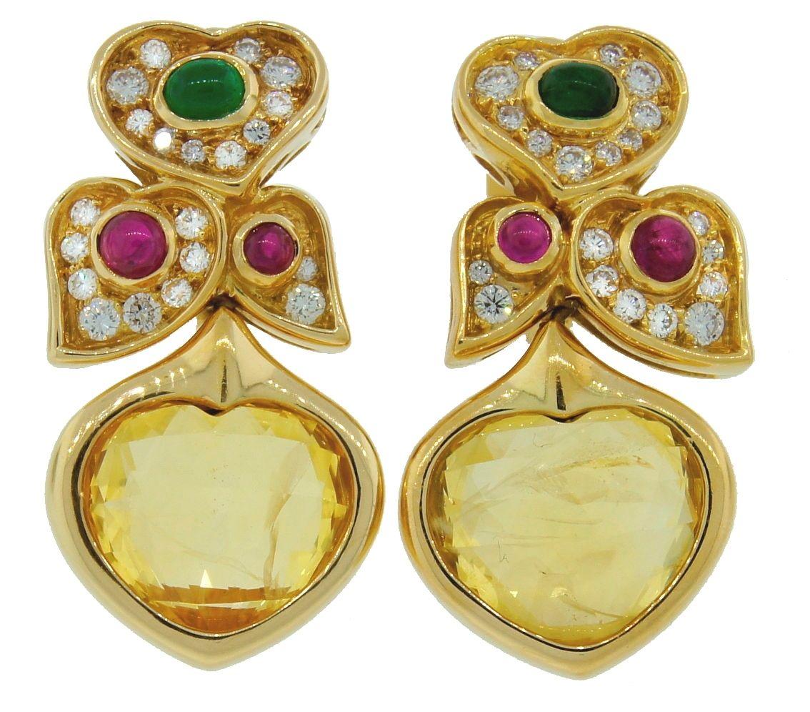 """Image of """"Bvlgari Heart Yellow Sapphire Diamond Gold Earrings"""""""