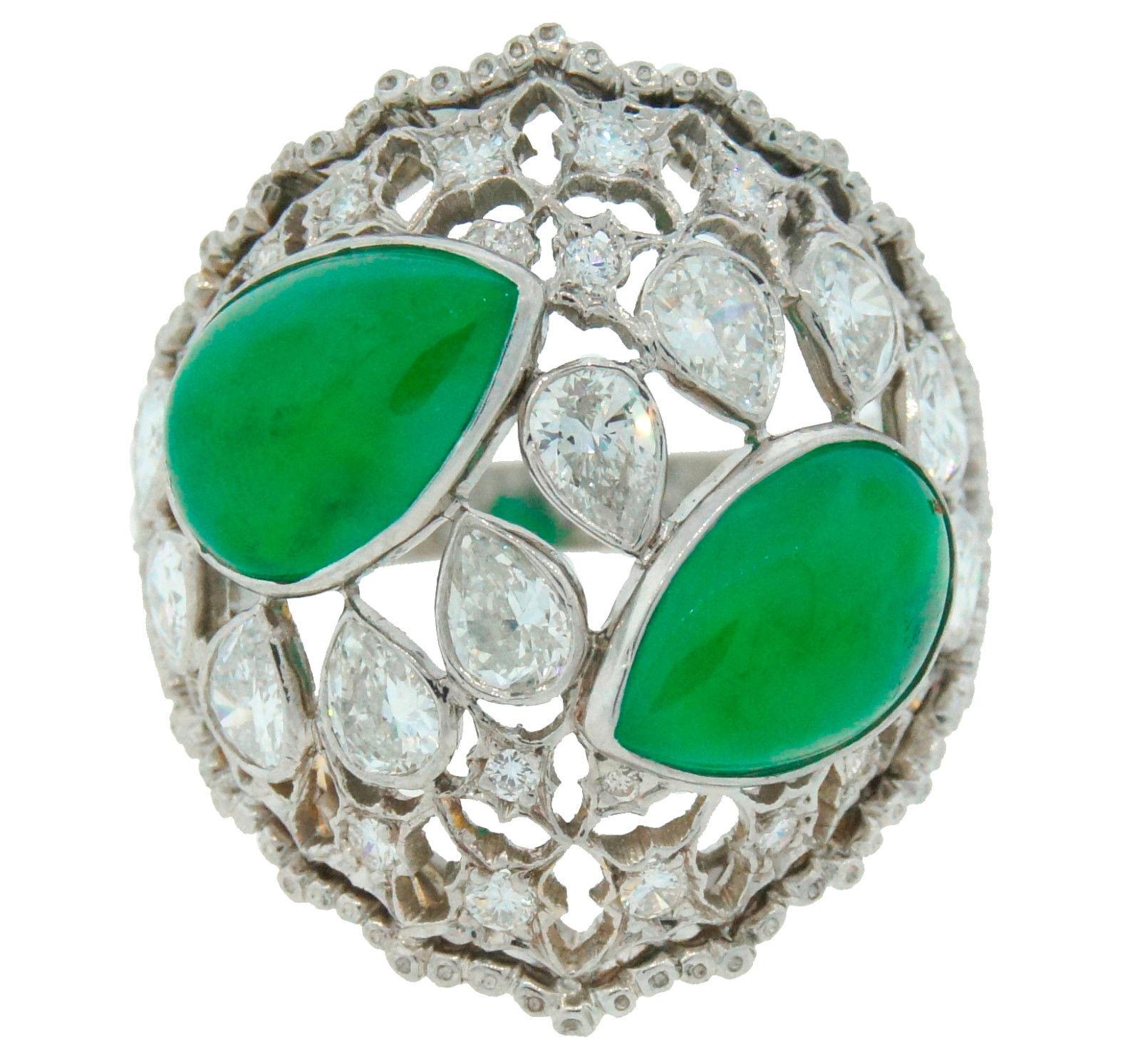 "Image of ""Buccellati Jade Diamond Platinum Ring"""