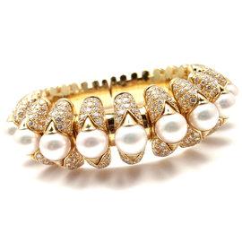 Bvlgari Bulgari 18k Yellow Gold Celtaura Diamond Pearl Bangle Bracelet