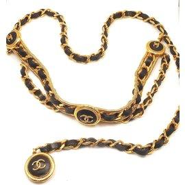 Gorgeous Vintage Chanel Black Leather Wrap Belt Necklace