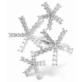 Damiani 18k White Gold Diamond Asterisk Ring