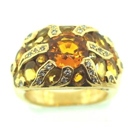 Chanel C.1990 France 18k Gold Padparadja Orange Sapphire Diamond 18k Gold Ring